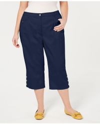 8c543e5c908 Lyst - Karen Scott Plus Size Button-cuff Capri Pants