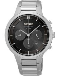 Seiko - Men's Solar Chronograph Stainless Steel Bracelet Watch 42mm Ssc439 - Lyst