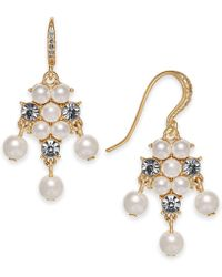 Charter Club - Gold-tone Imitation Pearl & Crystal Drop Earrings, Created For Macy's - Lyst