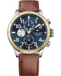Tommy Hilfiger - Men's Brown Leather Strap Watch 46mm 1791137 - Lyst