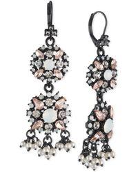 Marchesa - Black-tone Multi-stone & Shaky Imitation Pearl Double Drop Earrings - Lyst