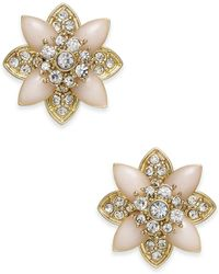 Charter Club - Gold-tone Crystal & Pink Stone Stud Earrings - Lyst