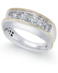 Macy's - Men's Diamond Two-tone Ring (1 Ct. T.w.) In 10k Gold & White Gold - Lyst