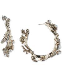 Marchesa - Gold-tone Crystal & Imitation Pearl Garden Hoop Earrings - Lyst