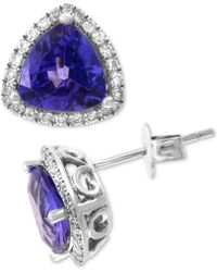 Effy Collection - Effy® Tanzanite (3 Ct. T.w.) & Diamond (3/8 Ct. T.w.) Halo Stud Earrings In 14k White Gold - Lyst