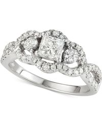 Macy's - Diamond Princess Engagement Ring (1-1/4 Ct. T.w.) In 14k White Gold - Lyst