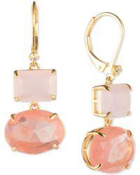 Carolee - Gold-tone Stone Double Drop Earrings - Lyst