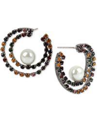 BCBGeneration - Bcbg Hematite-tone Crystal & Imitation Pearl Double-row Hoop Earrings - Lyst