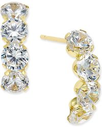 Macy's - Cubic Zirconia Curved Drop Earrings In 10k Gold - Lyst