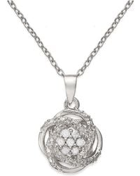 Macy's - Diamond Love Knot Pendant Necklace (1/10 Ct. T.w.) In 18k Gold-plated Sterling Silver - Lyst