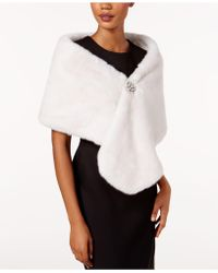 Adrianna Papell - Faux-fur Embellished Shawl - Lyst