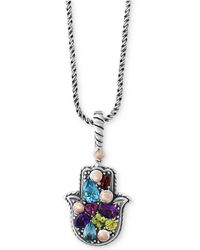 Effy Collection - Balissima By Effy® Multi-gemstone Hamsa Hand Pendant Necklace (1-1/3 Ct. T.w.) In Sterling Silver & 18k Rose Gold - Lyst