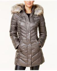 Laundry by Shelli Segal - Faux-fur-trim Fleece-lined Puffer Coat - Lyst