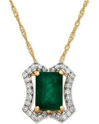 Macy's - Emerald (1 Ct. T.w.) & Diamond (1/8 Ct. T.w.) Pendant Necklace In 14k Gold - Lyst