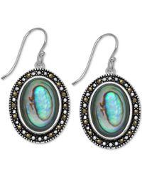 Macy's - Marcasite & Paua Shell Drop Earrings In Fine Silver-plate - Lyst