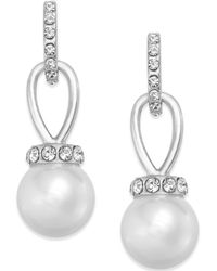 Charter Club - Gold-tone Imitation Pearl And Pavé Drop Earrings - Lyst