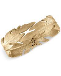 RACHEL Rachel Roy - Gold-tone Feather Hinged Bangle Bracelet - Lyst
