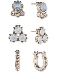 Marchesa - Gold-tone 3-pc. Set Crystal & Blue Stone Earrings - Lyst
