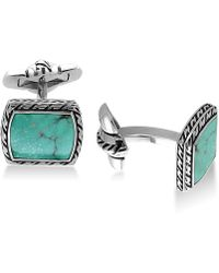 Effy Collection | Men's Manufactured Turquoise (12-1/2 X 9-1/2mm) Cuff Links In Sterling Silver And Oxidized Silver | Lyst