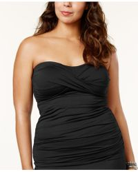 Anne Cole - Plus Size Twist-front Tankini Top - Lyst