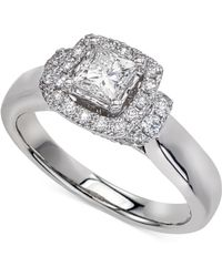 Macy's - Diamond Princess Cut Halo Engagement Ring (1 Ct. T.w.) In 14k White Gold - Lyst