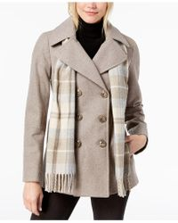 fef211980f5 Lyst - London Fog Plus Size Wool-Blend Car Coat   Scarf in Natural