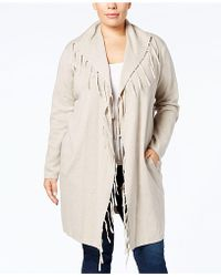 Style & Co. Plus Size Fringed-collar Open-front Duster Cardigan