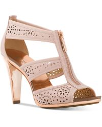 Michael Kors - Michael Berkley Perforated T-strap Sandals - Lyst
