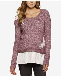 Jessica Simpson - Lace-trim Layered-look Sweater - Lyst
