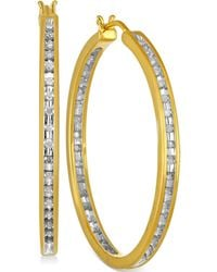 Macy's - Diamond Hoop Earrings (1/2 Ct. T.w.) In Sterling Silver And 14k Gold - Lyst