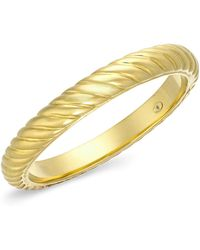 Signature Gold - Bold Ribbed Slip-on Bangle In 14k Gold - Lyst