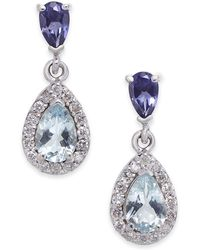 Macy's - Aquamarine, Iolite And Diamond (1-1/10 Ct. T.w.) Drop Earrings In 14k White Gold - Lyst