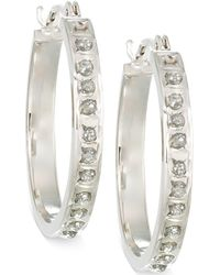 Macy's - Diamond Accent Small Hoop Earrings In 14k Gold - Lyst