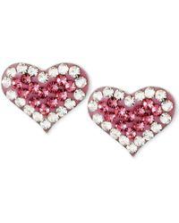 Betsey Johnson - Silver-tone Heart Pink Crystal Stud Earrings - Lyst