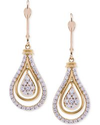 Wrapped in Love | Diamond Teardrop Orbital Drop Earrings (1 Ct. T.w.) In 14k Gold | Lyst