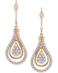 Wrapped in Love - Diamond Teardrop Orbital Drop Earrings (1 Ct. T.w.) In 14k Gold - Lyst