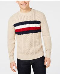 Tommy Hilfiger - Striped Chest Cable Knit Sweater, Created For Macy's - Lyst