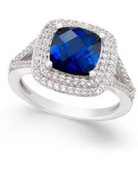 Macy's - Lab-created Sapphire (2-1/2 Ct. T.w.) And White Sapphire (1/2 Ct. T.w.) Ring In Sterling Silver - Lyst