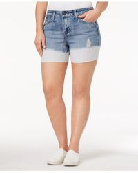 Rampage - Trendy Plus Size Dip-dyed Denim Shorts - Lyst
