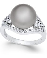 Macy's - Cultured Tahitian Pearl (11mm) And Diamond (5/8 Ct. T.w.) Ring In 14k White Gold - Lyst