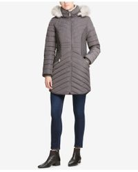 DKNY - Faux-fur-trim Hooded Puffer Coat, Created For Macy's - Lyst
