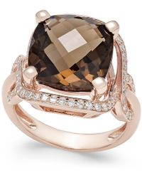 Macy's - Smoky Quartz (6-1/6 Ct. T.w.) And Diamond (3/8 Ct. T.w.) Statement Ring In 14k Rose Gold - Lyst