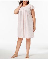 Miss Elaine - Plus Size Knit Picot-trim Nightgown - Lyst