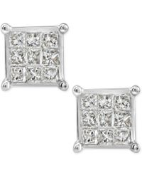 Macy's - Diamond Quad Cluster Stud Earrings (1/4 Ct. T.w.) In 10k White Gold - Lyst