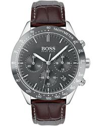BOSS - Men's Talent Chronograph Watch With Leather Strap Gray/brown - Lyst