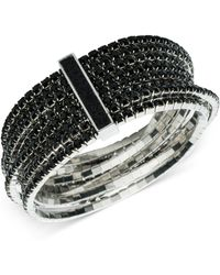 ABS By Allen Schwartz - Silver-tone Jet Crystal Multi-row Stretch Bracelet - Lyst
