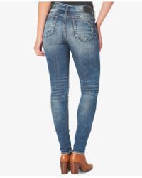Silver Jeans Co. - Silver Jeans Elyse Medium Blue Wash Skinny Jeans - Lyst