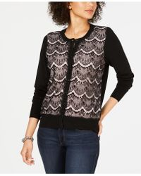 Charter Club - Lace-front Cardigan Sweater, Created For Macy's - Lyst