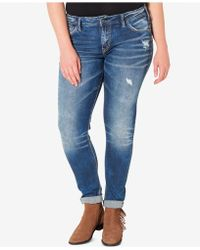 Silver Jeans Co. - Plus Size Indigo Wash Ripped Girlfriend Jeans - Lyst