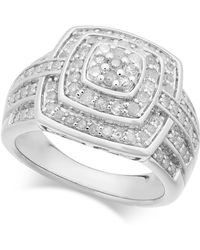 Macy's - Diamond Cushion Cluster Ring (1 Ct. T.w.) In Sterling Silver - Lyst